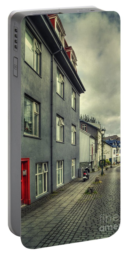 Reykjavik Portable Battery Charger featuring the photograph Mystery Street by Evelina Kremsdorf
