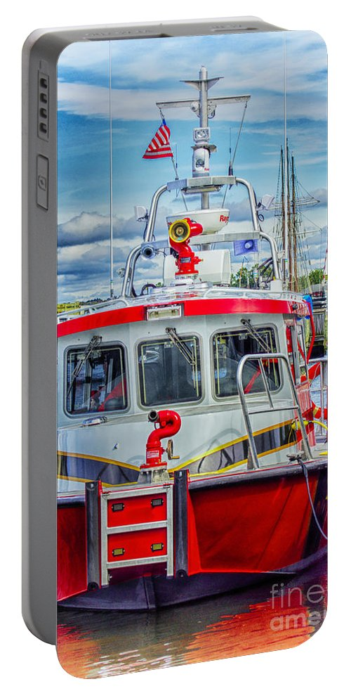Fie Portable Battery Charger featuring the photograph Mystic Fireboat by Joe Geraci