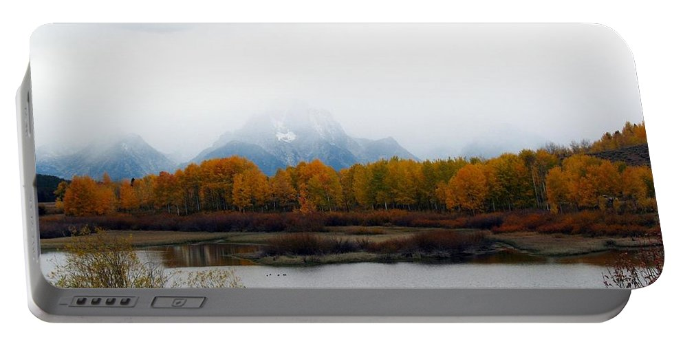 Fall Portable Battery Charger featuring the photograph Mystic Grand Teton by Carol Montoya