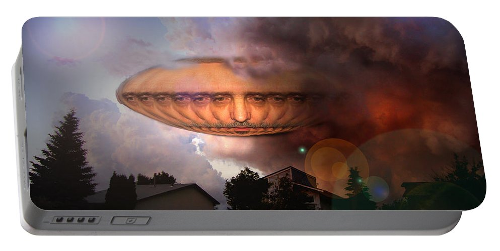 Surrealism Portable Battery Charger featuring the digital art Mystic Ufo by Otto Rapp