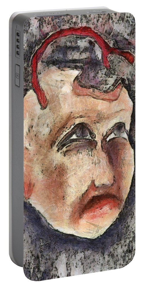 Question Portable Battery Charger featuring the mixed media Nagging Doubts by Michal Boubin