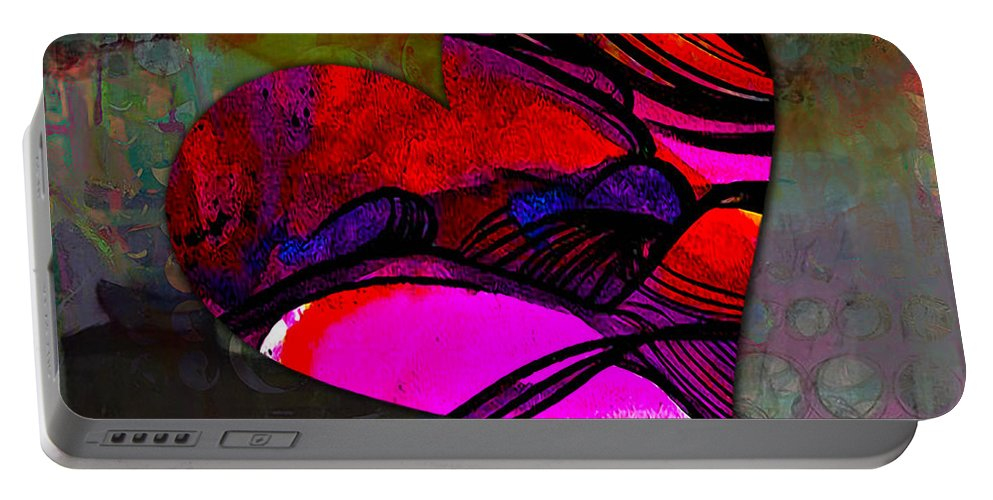 Heart Mixed Media Portable Battery Charger featuring the mixed media Namaste by Marvin Blaine