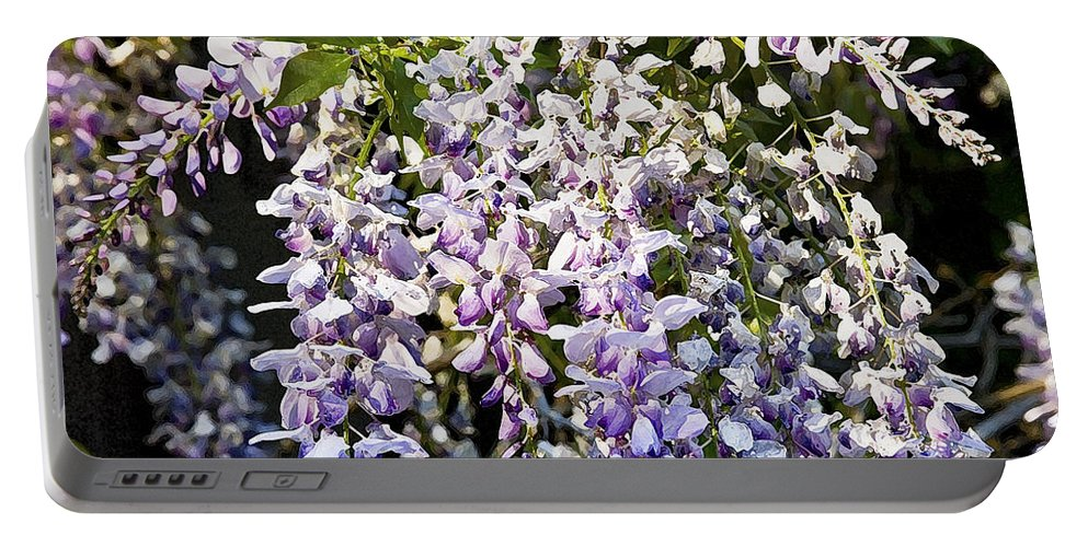 Wisteria Portable Battery Charger featuring the photograph Nancys Wisteria Cropped Db by Rich Franco