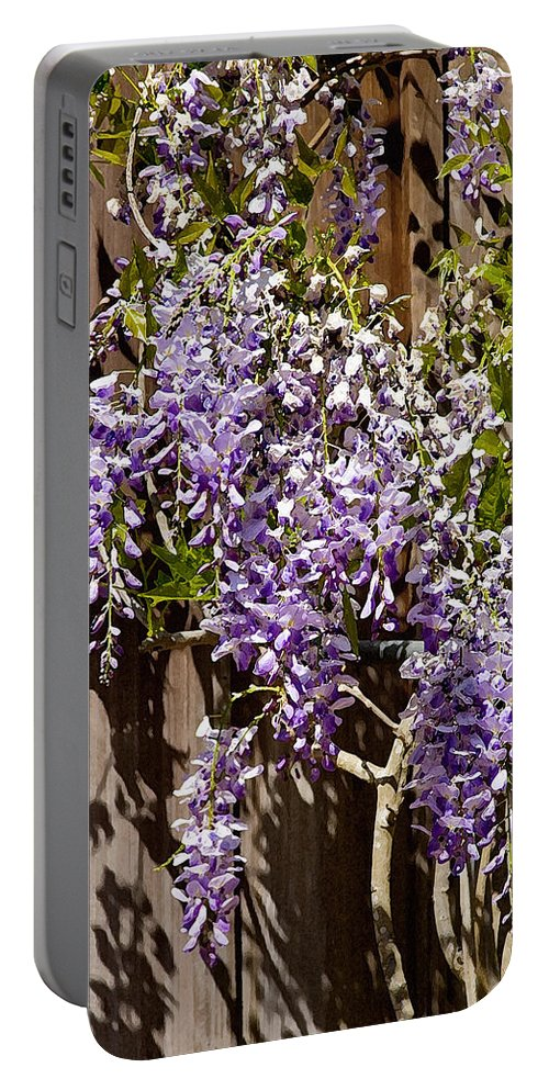 Flowers Portable Battery Charger featuring the photograph Nancys Wisteria Db by Rich Franco