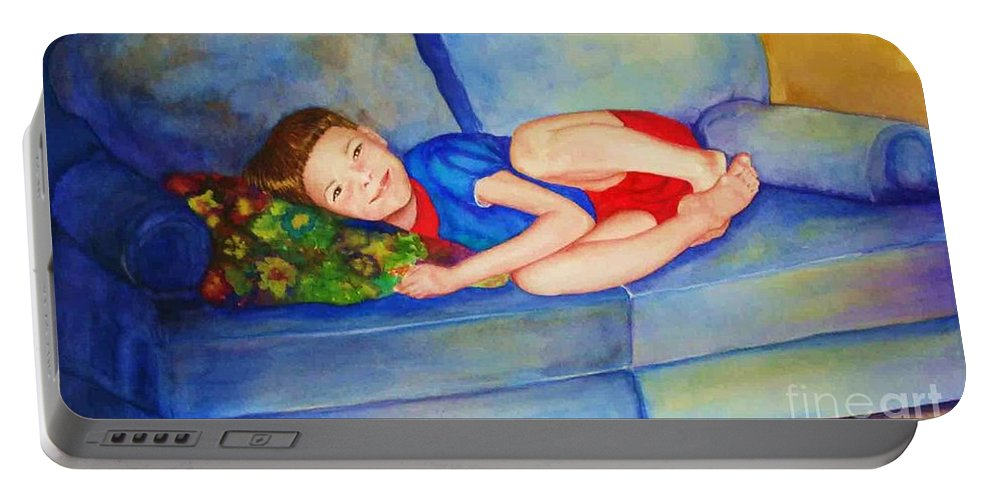 Nap Time Portable Battery Charger featuring the painting Nap Time by Jane Ricker