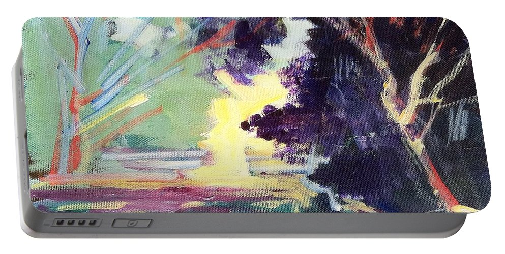 Napa Valley Forest Fall Depicts A Typical Day Nearly Every Day Of The Portable Battery Charger featuring the painting Napa Valley Forest Fall by Rebecca Lou Mudd
