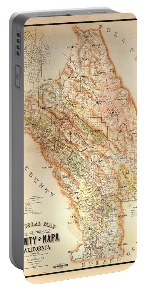 Napa Valley Map Portable Battery Charger featuring the photograph Napa Valley Map 1895 by Jon Neidert