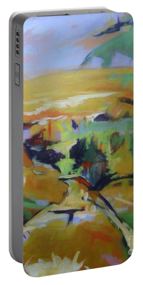 Winter Portable Battery Charger featuring the painting Napa Valley Perriwinkle Sky by Rebecca Lou Mudd