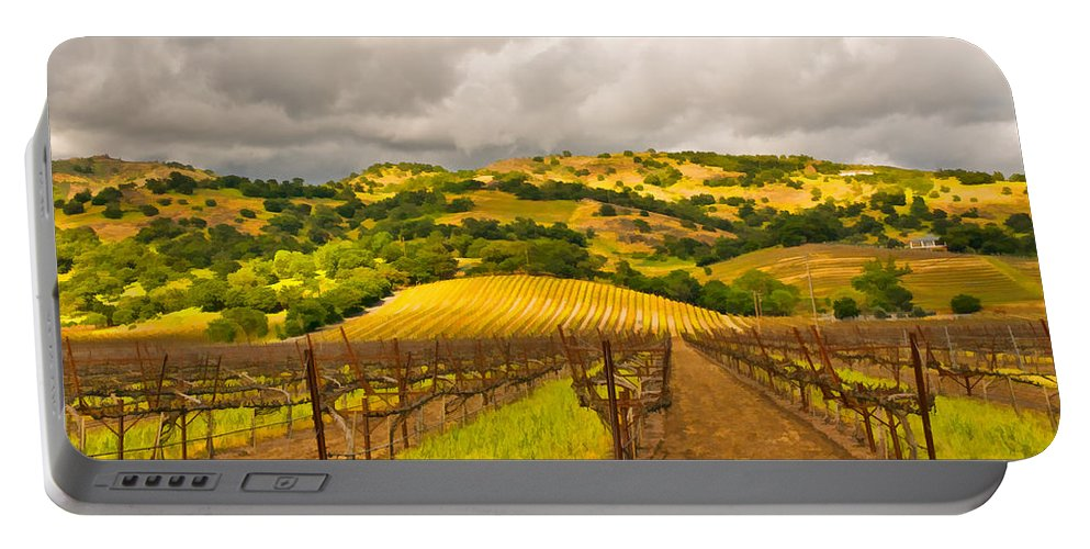 Napa Valley Portable Battery Charger featuring the digital art Napa Vineyard by Mick Burkey