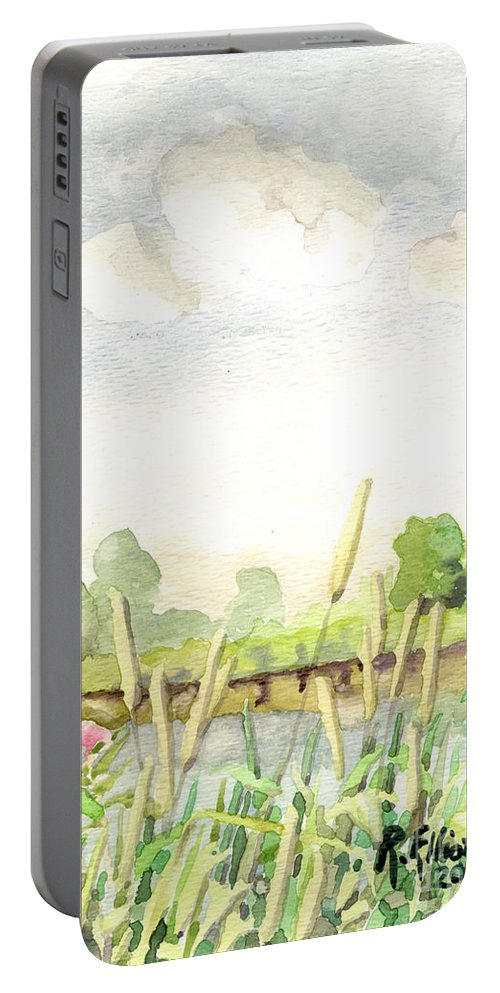Acrylic Prints Portable Battery Charger featuring the painting Napanee River West by John Herzog