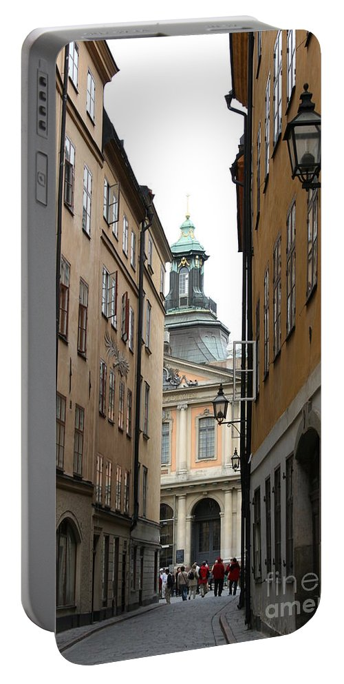Road Portable Battery Charger featuring the photograph Narrow Road Stockholm by Christiane Schulze Art And Photography