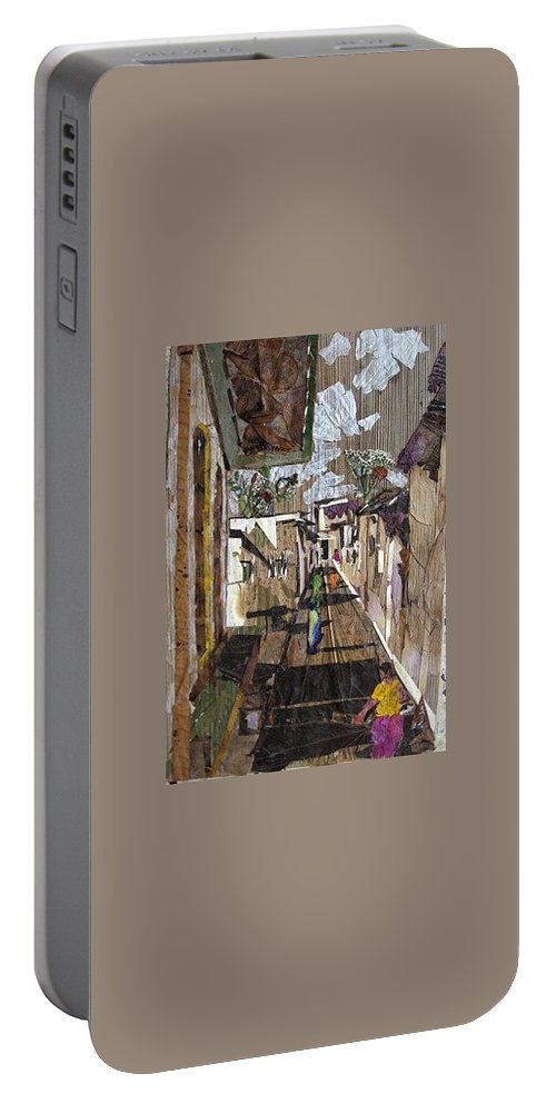 Street Scene Portable Battery Charger featuring the mixed media Narrow Street by Basant Soni