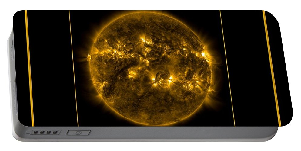 Nasa Portable Battery Charger featuring the photograph Nasa The Suns Corona Sun And Moon Bless The Lord Praise And Exalt Him Above All Forever by Rose Santuci-Sofranko