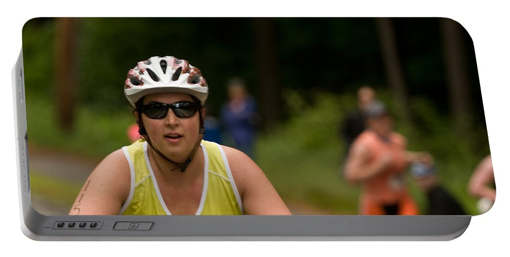 """nashua Sprint Y-triathlon"" Portable Battery Charger featuring the photograph Nashua Sprint Y-tri 110 by Paul Mangold"