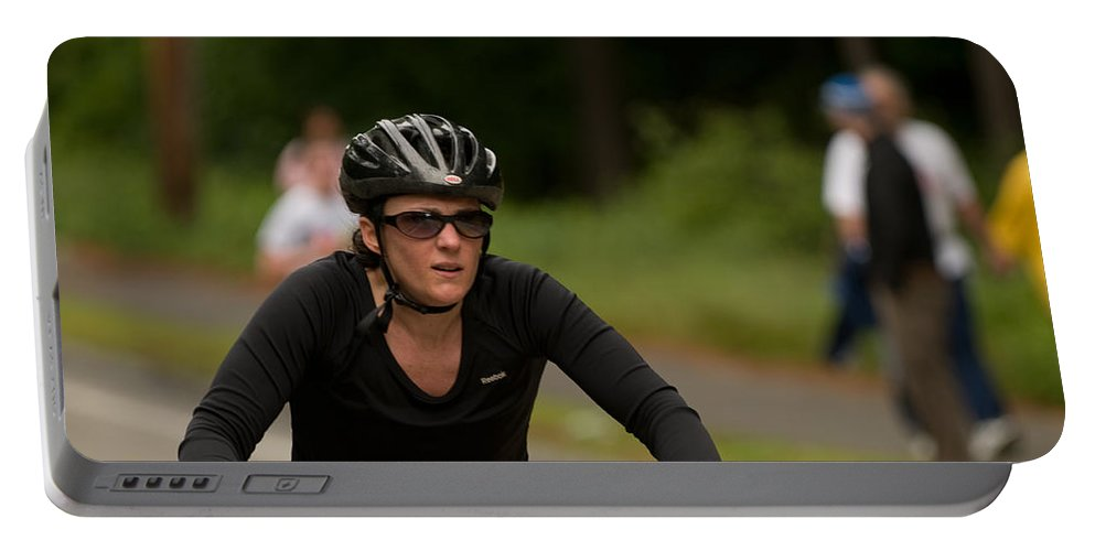 """""""nashua Sprint Y-triathlon"""" Portable Battery Charger featuring the photograph Nashua Sprint Y-tri 97 by Paul Mangold"""