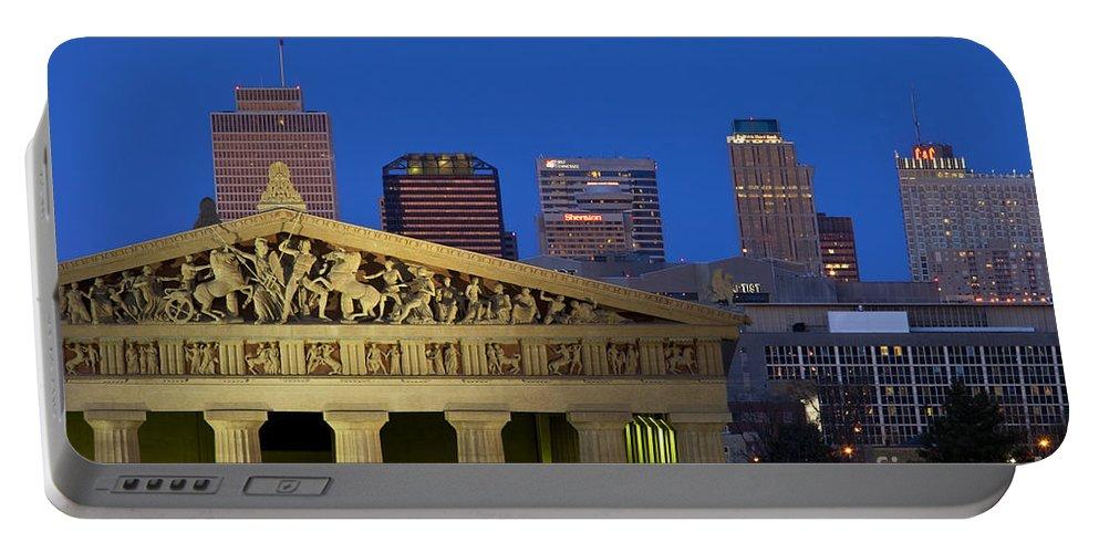 Parthenon Replica Portable Battery Charger featuring the photograph Nashville Parthenon by Brian Jannsen
