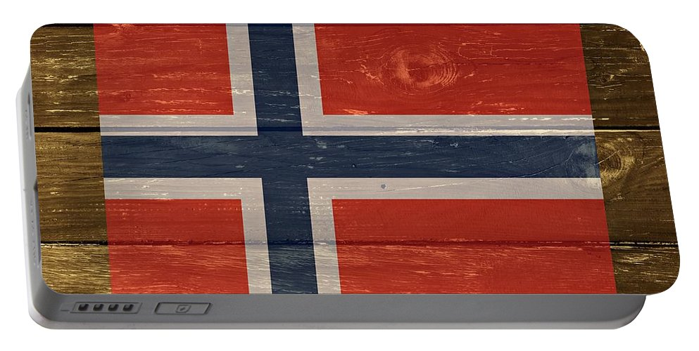Norway Portable Battery Charger featuring the digital art Norway National Flag On Wood by Movie Poster Prints
