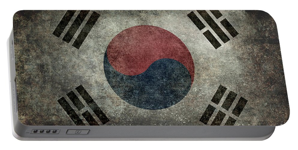 Aged Portable Battery Charger featuring the digital art National Flag Of South Korea Desaturated Vintage Version by Bruce Stanfield