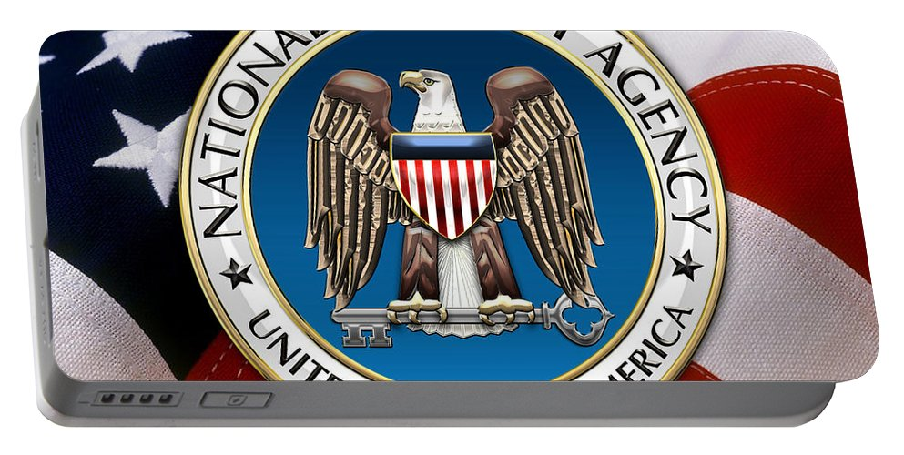 'military Insignia & Heraldry 3d' Collection By Serge Averbukh Portable Battery Charger featuring the digital art National Security Agency - N S A Emblem Emblem Over American Flag by Serge Averbukh