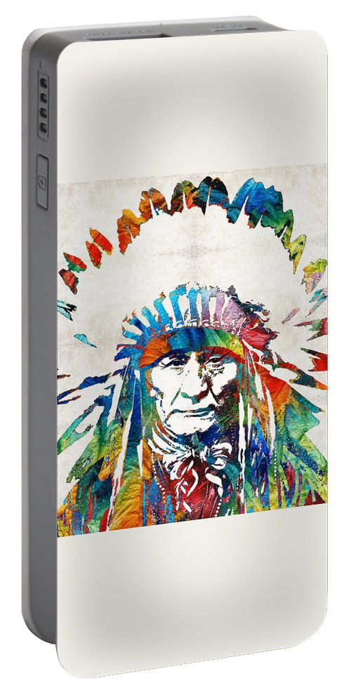 Native American Portable Battery Charger featuring the painting Native American Art - Chief - By Sharon Cummings by Sharon Cummings