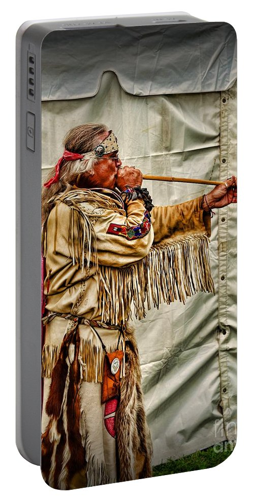 Paul Ward Portable Battery Charger featuring the photograph Native American With Blowgun by Paul Ward