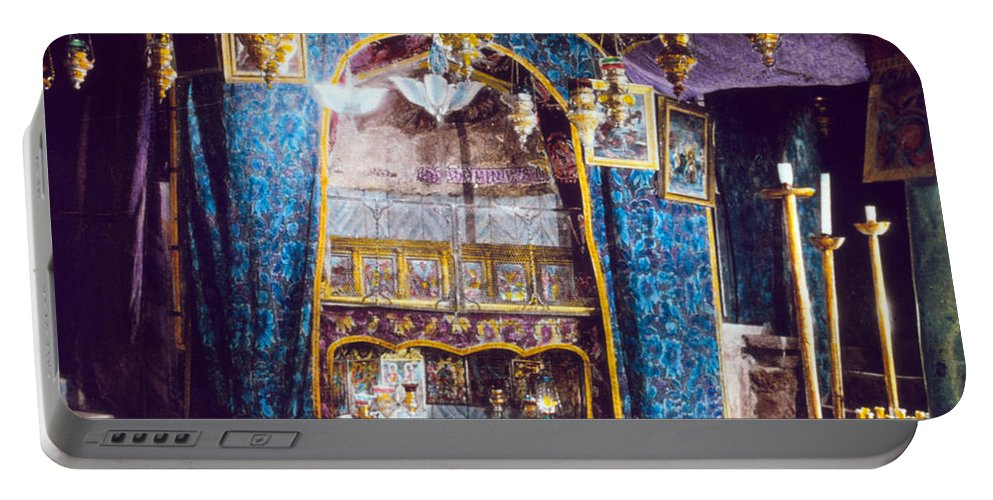 Nativity Portable Battery Charger featuring the photograph Nativity Grotto 1950 by Munir Alawi