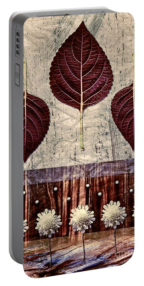Leaves Portable Battery Charger featuring the digital art Nature Canvas - 01m4 by Aimelle