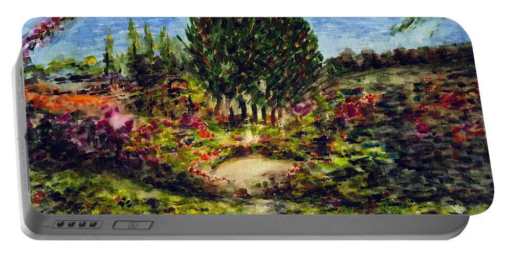 Landscape Portable Battery Charger featuring the painting Nature by Harsh Malik