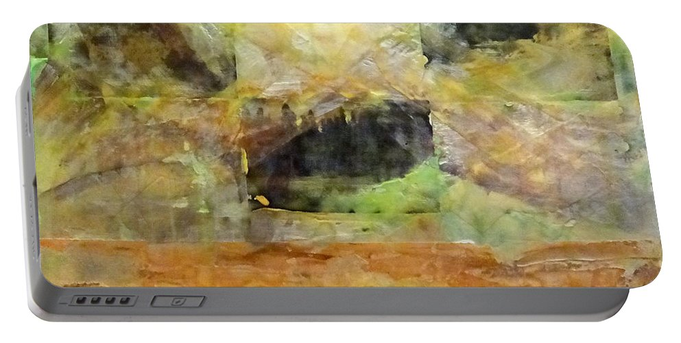 Abstract Portable Battery Charger featuring the mixed media Nature Refuge by Barbara Oertli