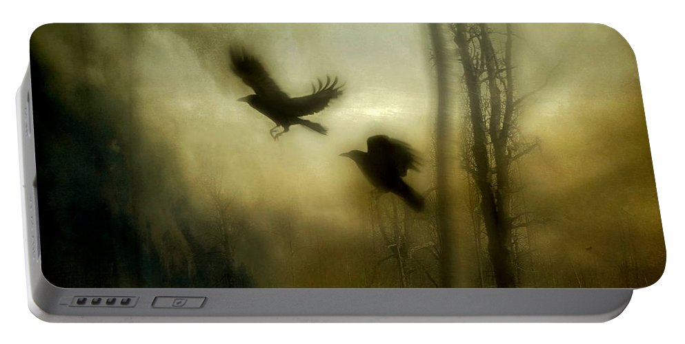 Crows Portable Battery Charger featuring the mixed media Nature's Blur by Gothicrow Images