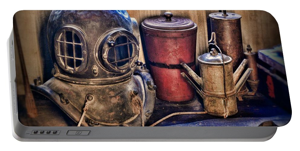 Dive Portable Battery Charger featuring the photograph Nautical - Antique Dive Helmet by Paul Ward