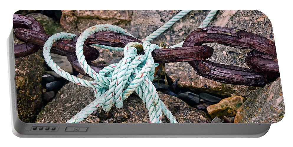 Chains Portable Battery Charger featuring the photograph Nautical Lines And Rusty Chains by Susie Peek