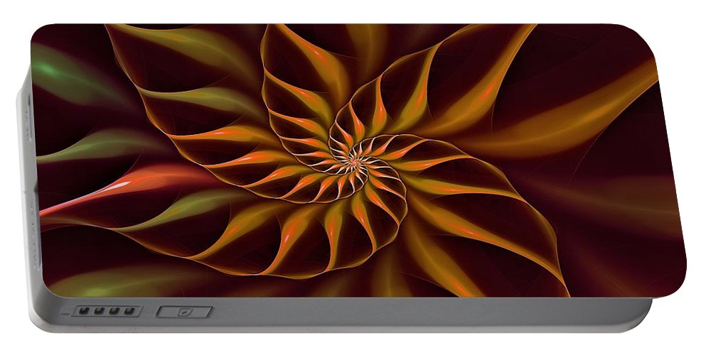 Flower Portable Battery Charger featuring the digital art Nautilus Fractalus Tropical by Doug Morgan