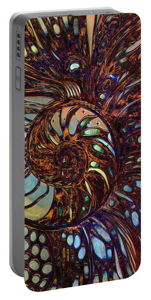 Shell Portable Battery Charger featuring the digital art Nautilus by Mary Eichert