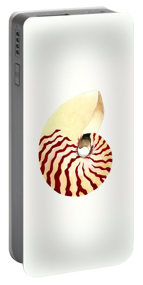 Nautilus Portable Battery Charger featuring the painting Nautilus by Michael Vigliotti