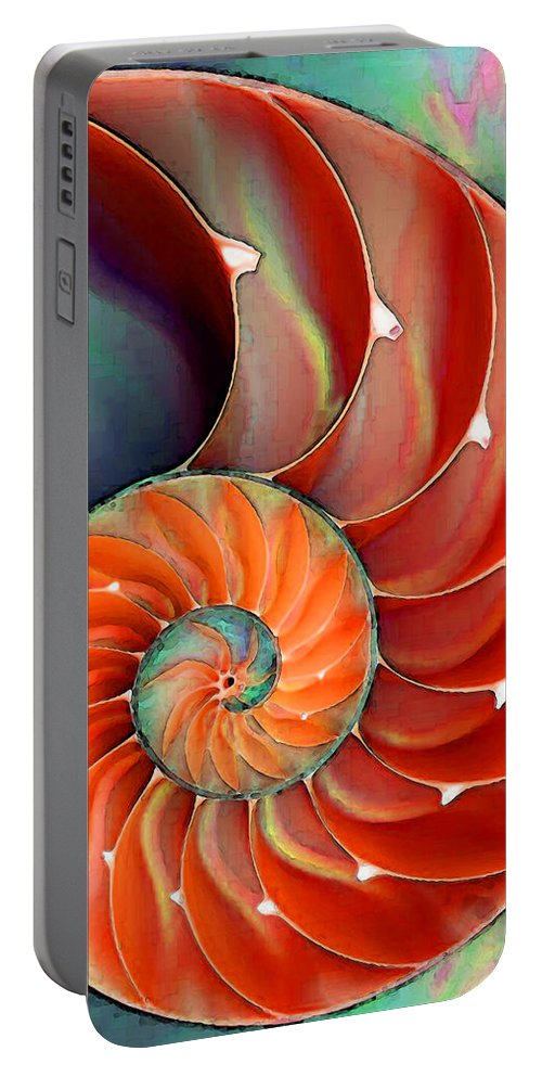 Nautilus Portable Battery Charger featuring the painting Nautilus Shell - Nature's Perfection by Sharon Cummings
