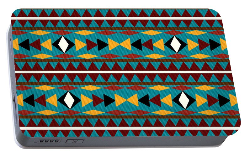 Navajo Portable Battery Charger featuring the mixed media Navajo Teal Pattern by Christina Rollo