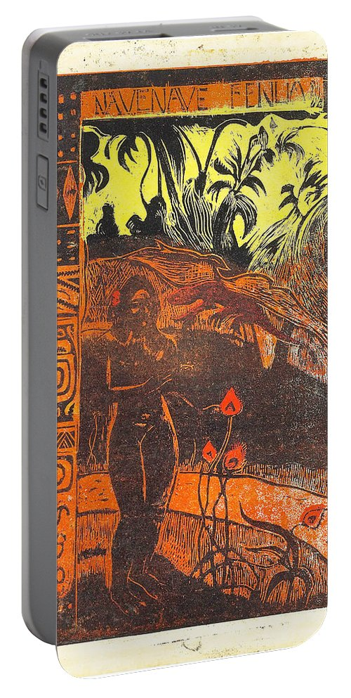 Paul Gauguin Portable Battery Charger featuring the painting Nave Nave Fenua From The Noa Noa Series by Paul Gauguin