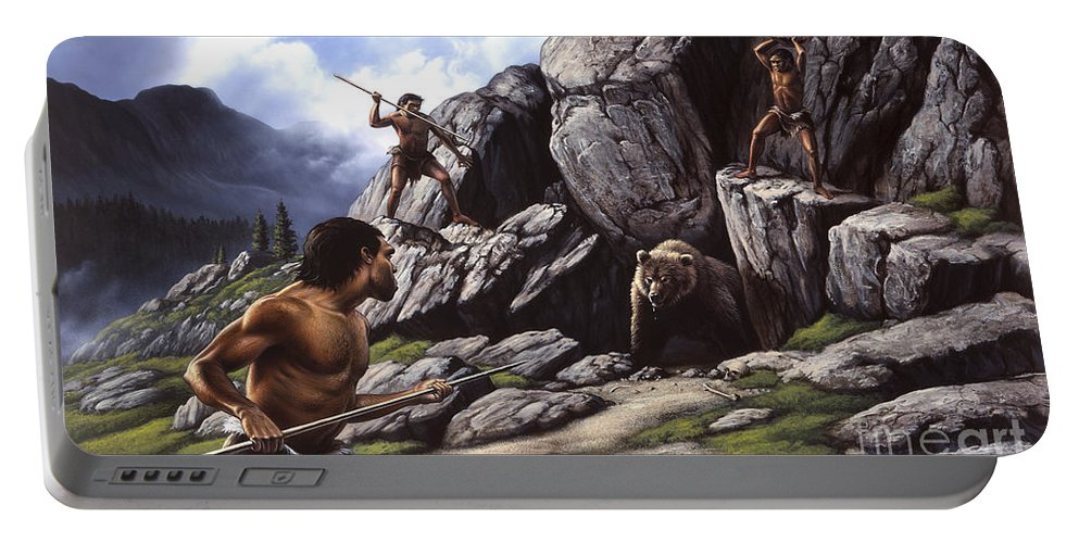 Horizontal Portable Battery Charger featuring the digital art Neanderthals Hunt A Cave Bear by Jerry LoFaro