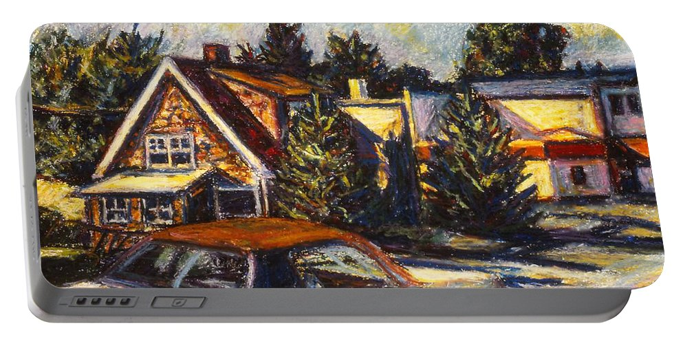 Town Paintings Portable Battery Charger featuring the painting Near Reeds by Kendall Kessler