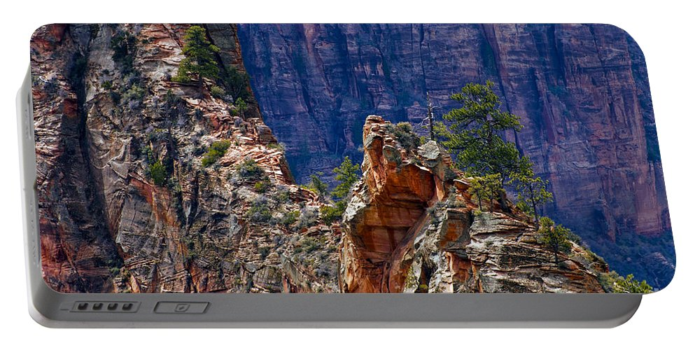Zion National Park Utah Parks Tree Trees Mountain Mountains Texture Textures Landscape Landscapes Portable Battery Charger featuring the photograph Near The Top by Bob Phillips
