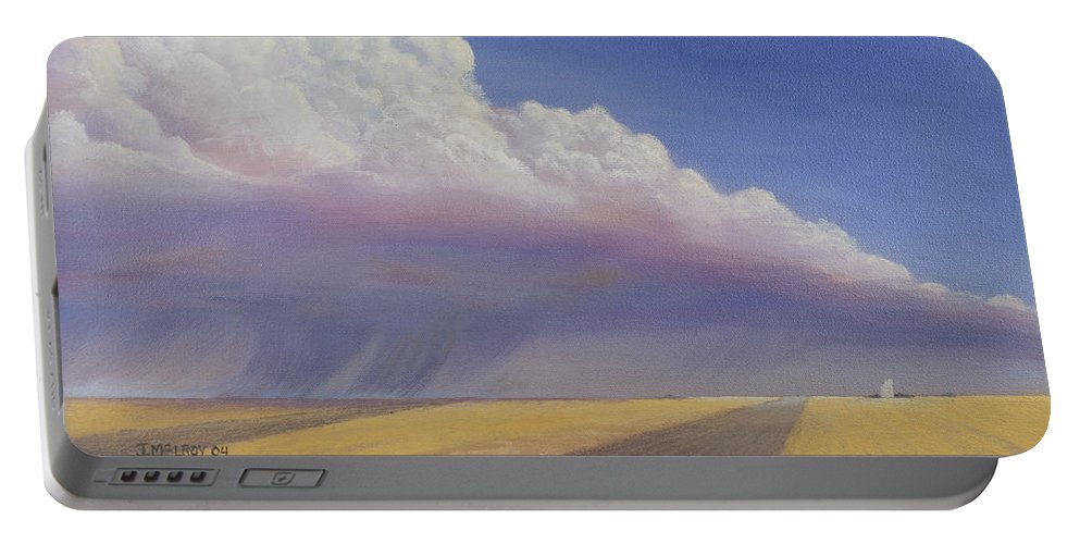 Landscape Portable Battery Charger featuring the painting Nebraska Vista by Jerry McElroy