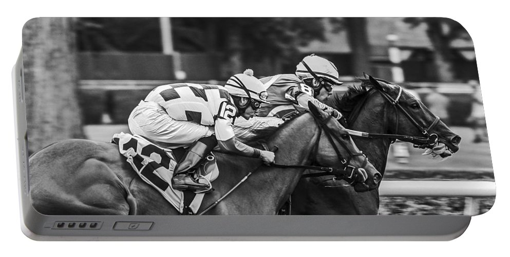 Saratoga Racetrack 2013 Portable Battery Charger featuring the photograph Neck And Neck by Eric Swan