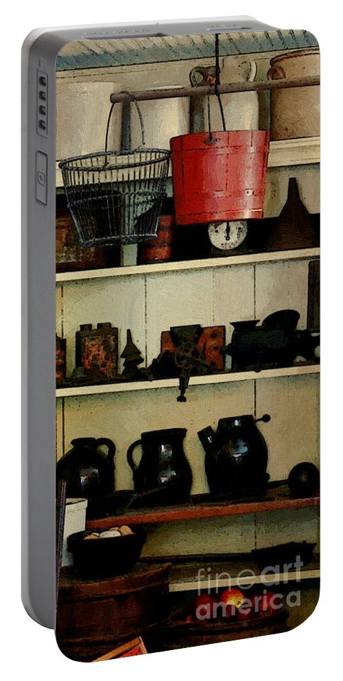 Antiques Portable Battery Charger featuring the painting Needful Things by RC DeWinter