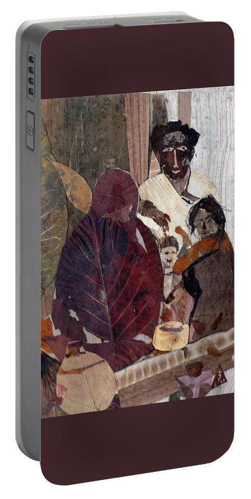 Group Portrait Portable Battery Charger featuring the mixed media Needy Family by Basant Soni