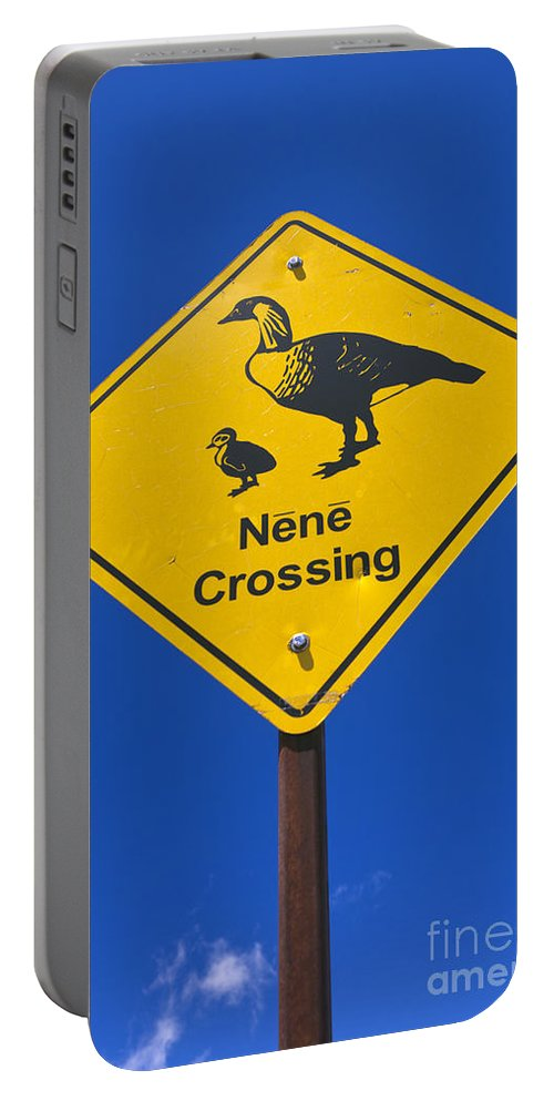 Nene Portable Battery Charger featuring the photograph Nene Crossing Sign Haleakala National Park by Jason O Watson