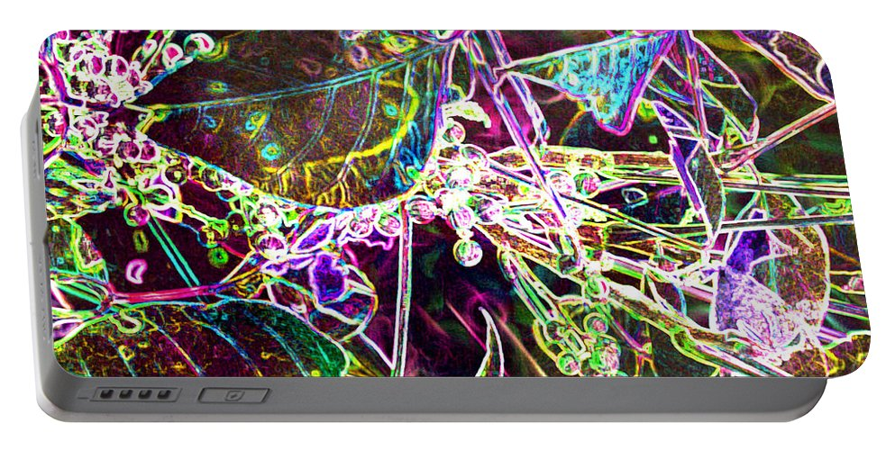 Abstract Portable Battery Charger featuring the photograph Neon Pearls by Heather Coen