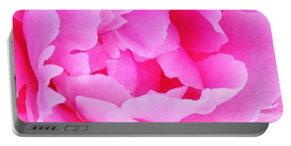 Neon Portable Battery Charger featuring the photograph Neon Pink Peony by Stephanie Callsen