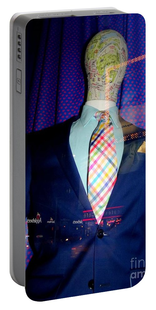 Mannequins Portable Battery Charger featuring the photograph Neon Reflections by Ed Weidman
