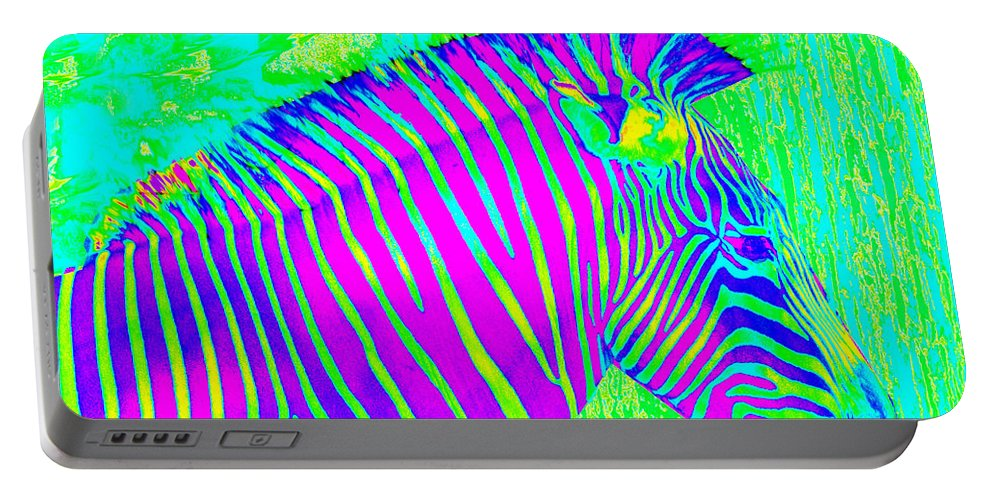 Zebra Portable Battery Charger featuring the painting Neon Zebra 2 by Jane Schnetlage